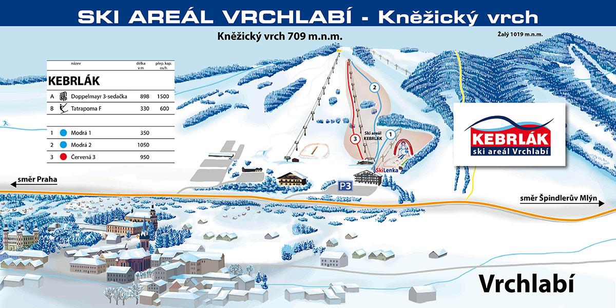 Mapa narciarska KEBRLAK - Skiareál Vrchlabí - Kněžický vrch