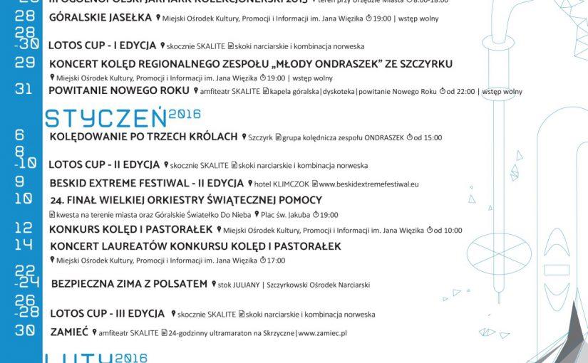 Kalendarz imprez zimowych 2015/2016 w Szczyrku