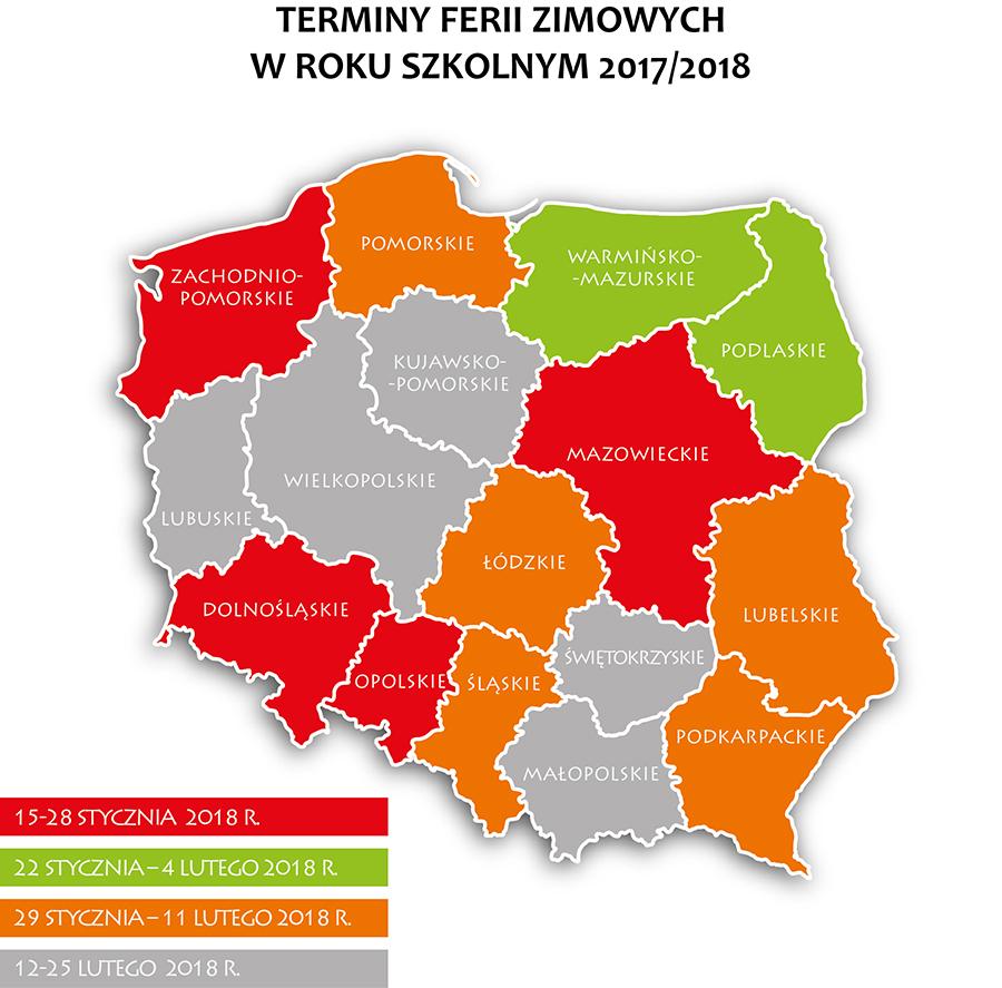mapa-polska-ferie-2018